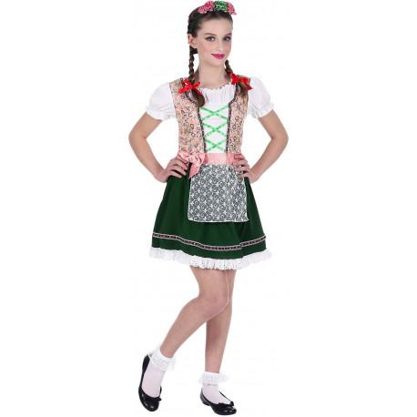 Disfraz de Tirolesa Rosa y Verde para Niña