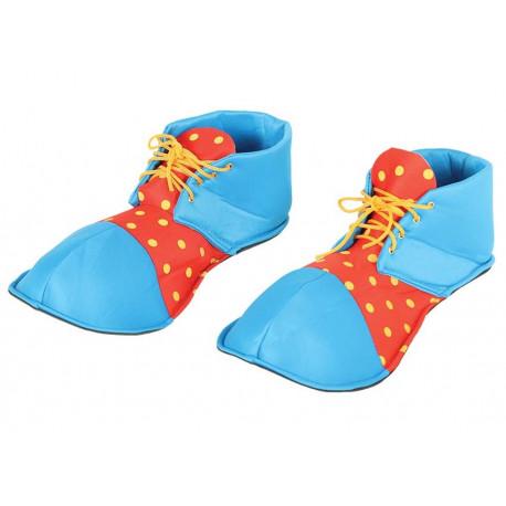 Zapatos de Payaso Azules y Rojos de Tela