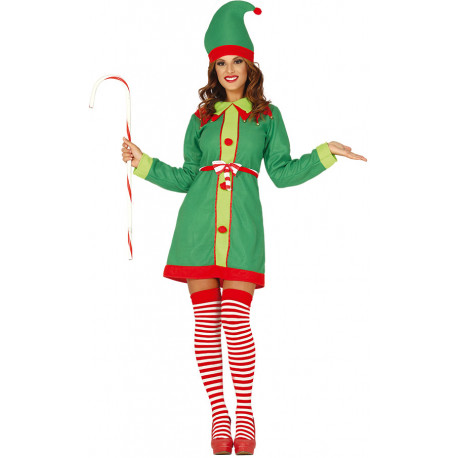Disfraz de Elfa Navideña Divertida para Mujer