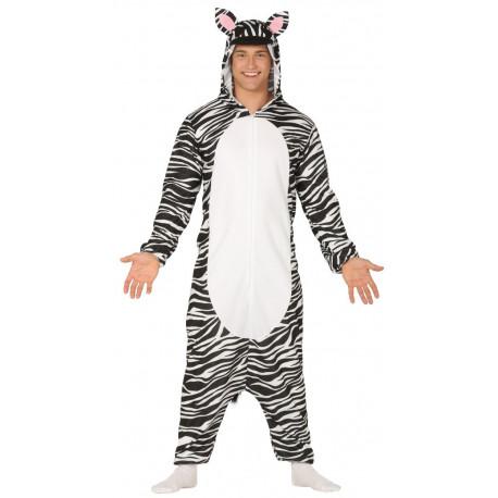 Disfraz de Cebra Pijama con Capucha para Adulto