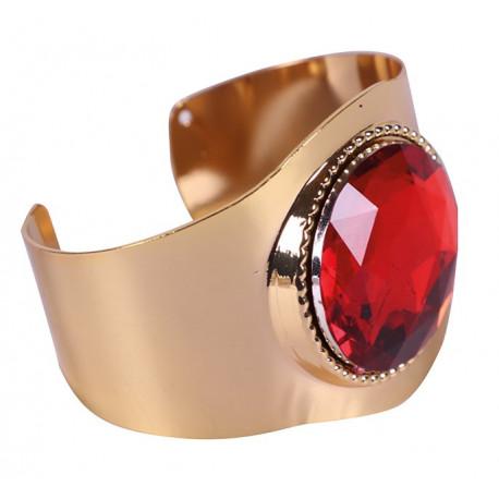 Brazalete Metálico Dorado con Piedra Preciosa Roja