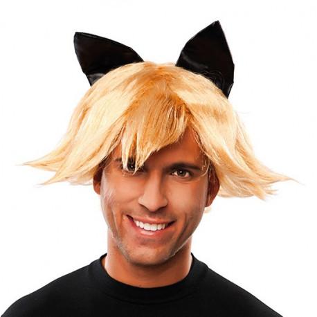 Peluca de Cat Noir Rubia con Orejas para Adulto