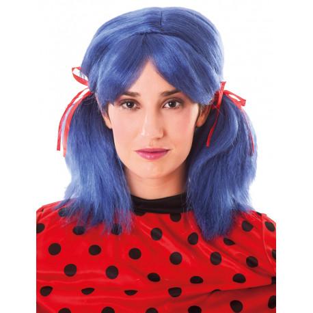 Peluca de Ladybug Azul con Coletas para Adulto