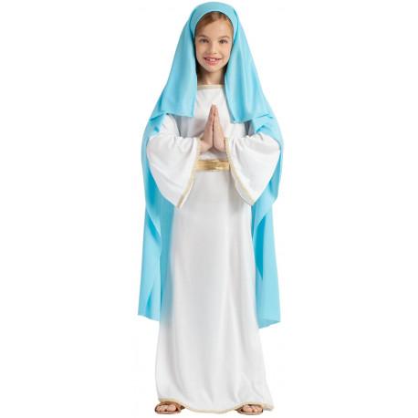 Disfraz de Virgen María Azul y Blanco Infantil