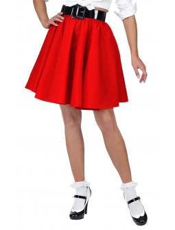 Falda Grease Roja Estilo Pin Up