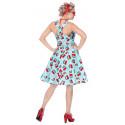 Disfraz Pin Up Años 50 Azul con Cerezas para Mujer