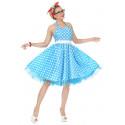 Disfraz Pin Up Años 50 Azul con Lunares para Mujer