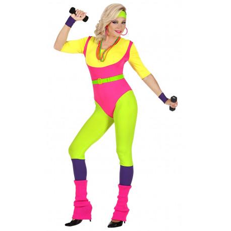 Disfraz de Monitora de Aerobic Años 80 para Mujer