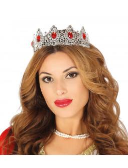 Tiara de Princesa Plateada Metálica con Pedrería