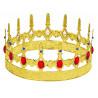 Corona de Rey Dorada Metálica con Pedrería Roja
