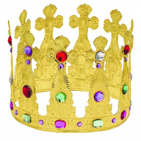 Corona Alta de Rey Dorada Metálica con Pedrería