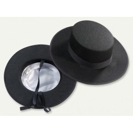Sombrero Cordobés Negro con Forro para Adulto