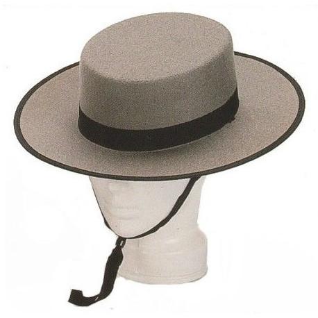 Sombrero Cordobés Gris con Forro para Adulto