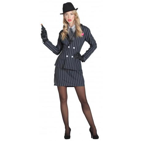 Disfraz de Mafiosa con Traje a Rayas para Mujer