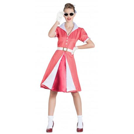 Disfraz Pin Up Años 50 Rosa Fucsia para Mujer
