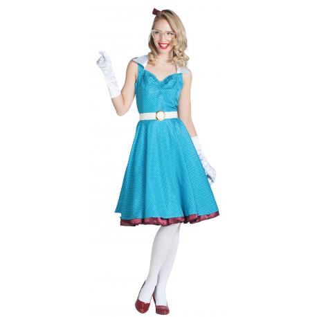 Disfraz de Chica Pin Up Azul Años 50 para Mujer