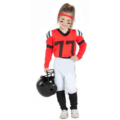 Disfraz de Jugadora de Rugby Roja para Niña