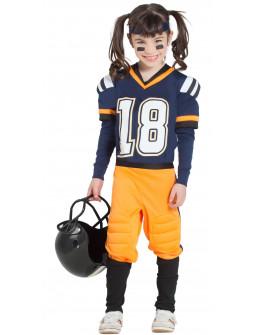 Disfraz de Jugadora de Rugby Azul para Niña