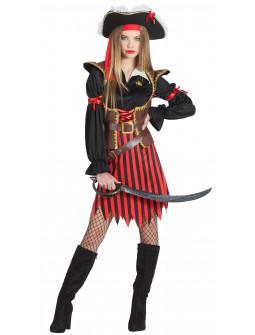 Disfraz de Capitana Pirata a Rayas para Mujer