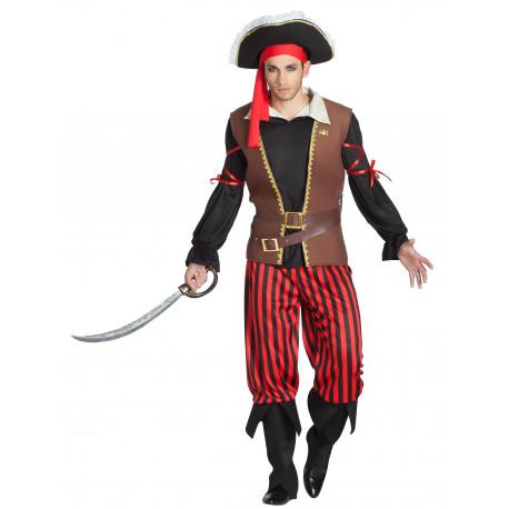 Disfraz de Capitán Pirata a Rayas para Hombre
