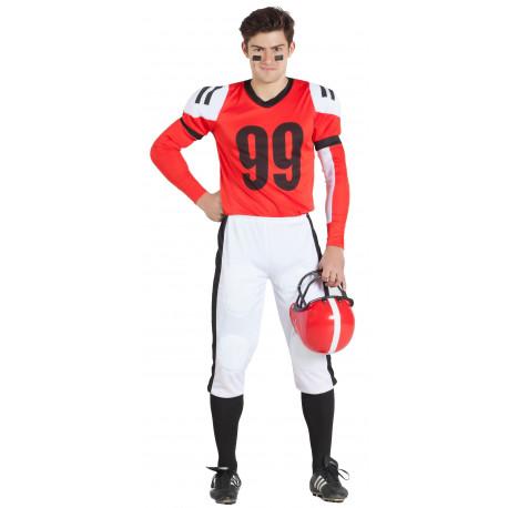 Disfraz de Jugador de Fútbol Americano Rojo para Hombre