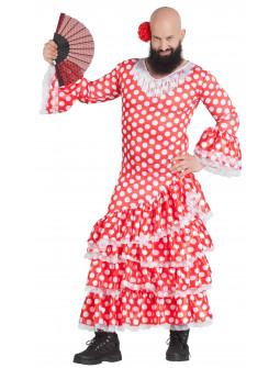 Disfraz de Sevillana Roja con Lunares para Hombre
