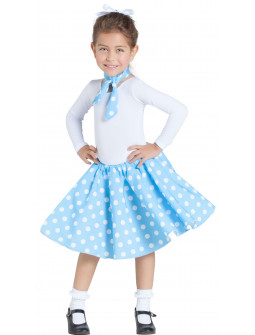 Falda Azul Años 50 con Lunares y Pañuelo Infantil