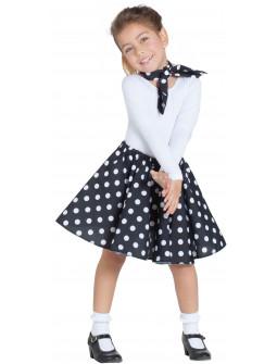 Falda Negra Años 50 con Lunares y Pañuelo Infantil