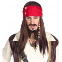 Peluca de Pirata Jack Sparrow con Perilla y Bigote