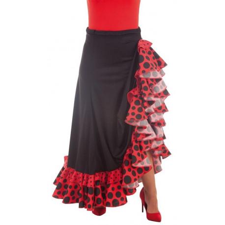 Falda Flamenca Roja y Negra para Mujer