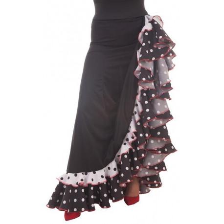 Falda Flamenca Negra y Blanca para Mujer