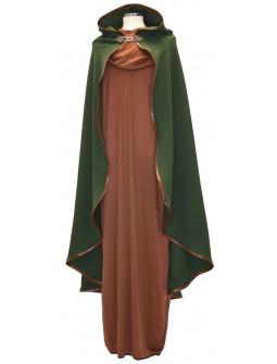 Capa Medieval Verde con Capucha y Ribetes de Piel