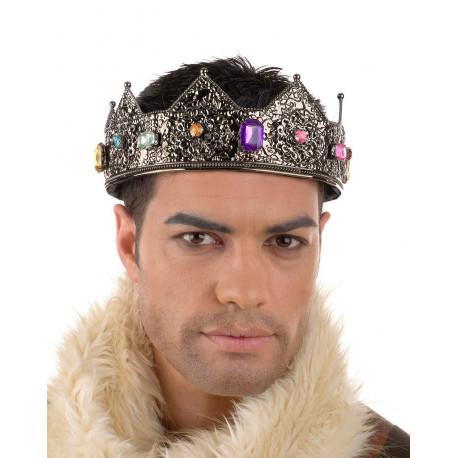 Corona de Rey Medieval Metálica con Pedrería