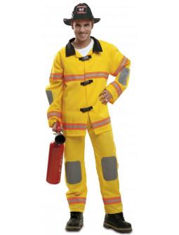 Disfraz de Bombero Amarillo con Peto para Hombre
