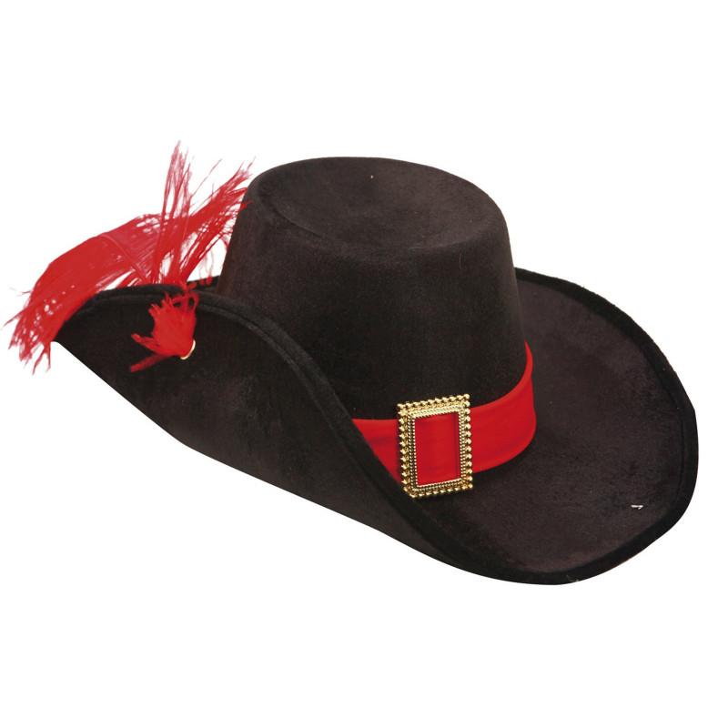Sombrero de Mosquetero Negro con Pluma para Adulto  6b89888221e