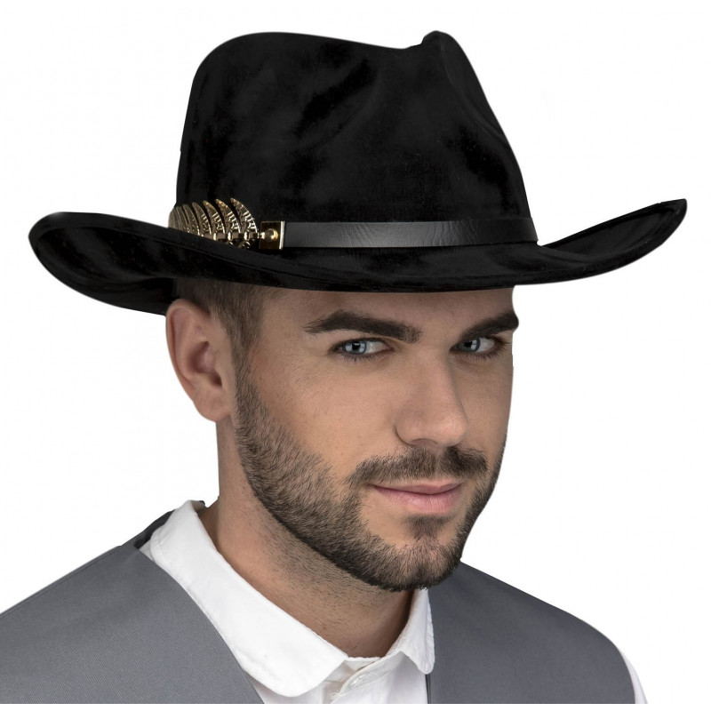 Sombrero de Vaquero Elegante Negro Premium  1ceaf49429d
