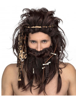 Peluca de Cavernícola Castaña con Barba