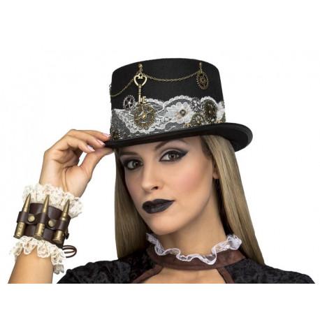 Chistera Steampunk Negra con Encaje