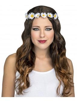 Peluca Hippie Castaña Larga con Diadema de Flores