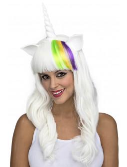 Peluca de Unicornio Blanca Larga con Cuerno y Orejas