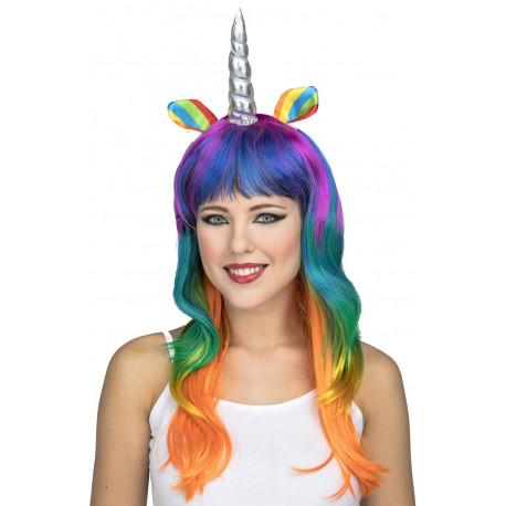 Peluca de Unicornio Multicolor con Cuerno Plateado