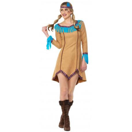 Disfraz de India Beige con Flecos para Mujer