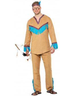 Disfraz de Indio Beige con Flecos para Hombre
