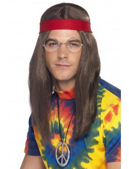 Kit Hippie con Peluca, Gafas y Colgante