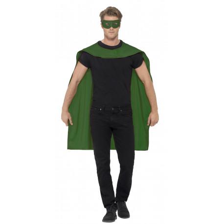 Capa Verde de Superhéroe con Antifaz para Adulto