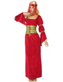 Disfraz de Dama Medieval Rojo para Mujer