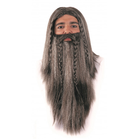 Peluca de Vikingo Canosa con Barba Larga