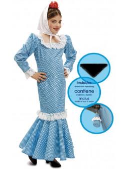 Disfraz de Chulapa Madrileña Azul para Niña