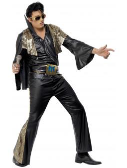 Disfraz de Elvis Negro y Dorado para Hombre