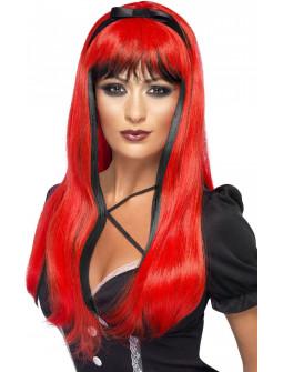 Peluca Roja y Negra con Lazo